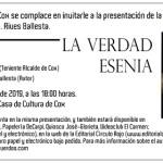 La verdad esenia de Joaquín Francisco Rives se presentará en Cox