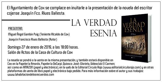 La verdad esenia de Joaquín Francisco Rives es presentarà a Cox