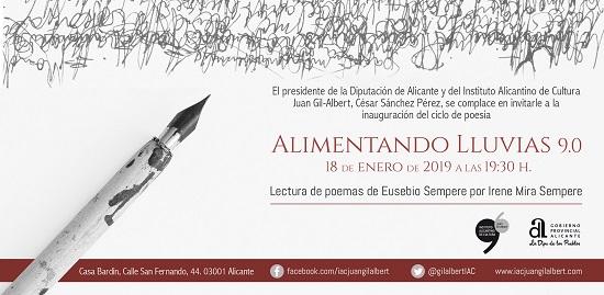 """Els poemes d'Eusebio Sempere inauguren el cicle 2019 de """"Alimentando lluvias"""" pel IAC Juan Gil-Albert"""