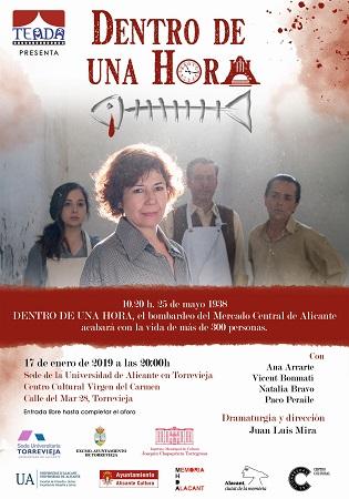 La Sede Universitaria de Torrevieja programa la obra teatral «Dentro de una hora»