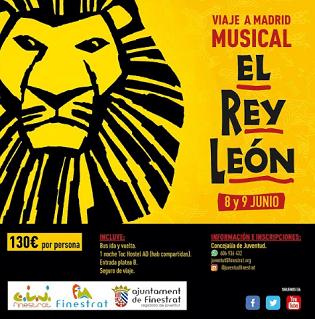 """La concejalía de juventud de Finestrat lanza visita a Madrid para ver el musical de """"El Rey León"""""""