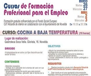 Turisme de Novelda oferta el curs Cuina a baixa temperatura