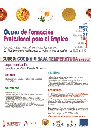 Turismo de Novelda oferta el curso Cocina a baja temperatura