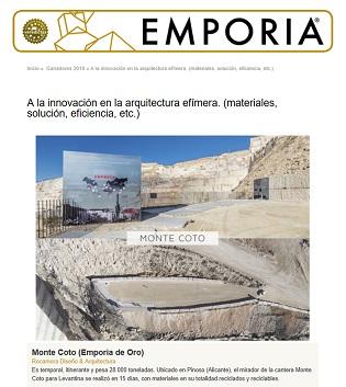 El Mirador de las Canteras del Mont Coto aconsegueix el Premi Emporia d'Or