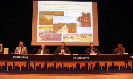 Los catedráticos de la Universidad de Alicante Antonio Gil Olcina y Antonio Rico Amorós presentan el libro 'Canal Bajo del Algar. Columna vertebral de la Marina Baixa'