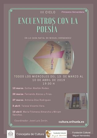 Nueva edición del III Ciclo de Poesía en la Casa Natal de Miguel Hernández