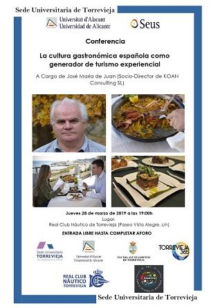La Sede Universitaria de Torrevieja organiza un taller y una conferencia sobre el Turismo Gastronómico