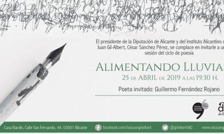 Guillermo Fernández Rojano será el poeta invitado este próximo jueves en el Instituto Alicantino de Cultura Juan Gil-Albert