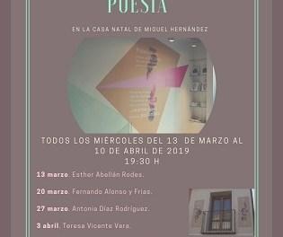 """Aquest pròxim dimecres conclourà la tercera edició del Cicle """"Trobades amb la Poesia a la Casa Natal de Miguel Hernández"""" amb Filomena Almarcha i Miriam Sánchez"""