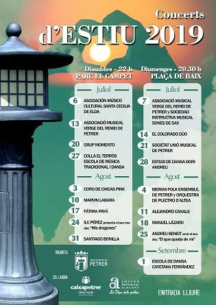 18 concerts amenitzaran els caps de setmana de juliol i agost a Petrer