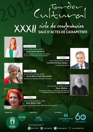 La reputada pediatra Lucía Galán y la periodista Rosa María Calaf entre las conferenciantes del XXXII Otoño Cultural de Petrer