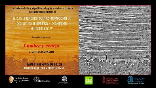 """El sábado 16 de noviembre se celebrará la entrega del Premio Internacional de Poesía """"Miguel Hernández"""" 2019"""