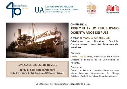 Manuel Aznar hablará de «1939 y el exilio republicano, ochenta años después» en la Sede Ciudad de Alicante