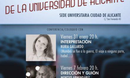Nuria Gallardo, Montxo Armendáriz i Rosana Pastor en les V Jornades Professionals del Cinema Espanyol de la Universitat d'Alacant