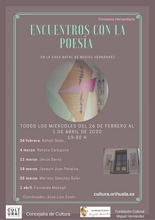 Este próximo miércoles se iniciará el IV Ciclo de Poesía en la Casa Natal de Miguel Hernández