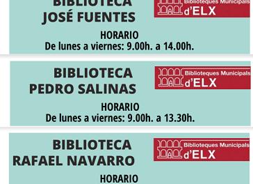 Las bibliotecas municipales comienzan a reabrir hoy sus puertas en las pedanías de Torrellano, El Altet y La Marina de Elche