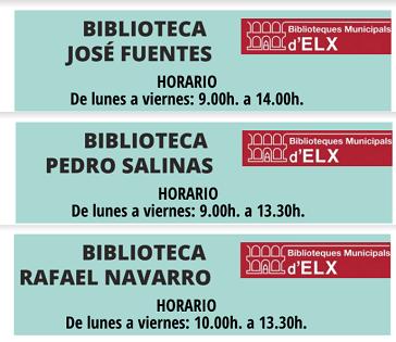 Les biblioteques municipals comencen a reobrir hui les seues portes en les pedanies de Torrellano, El Altet i La Marina d'Elx