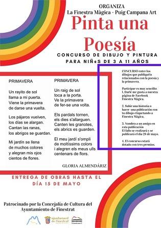 """Finestrat promueve la introducción de los más pequeños a la poesía y la creación artística con el concurso infantil de dibujo y pintura """"Pinta tu poesía"""""""