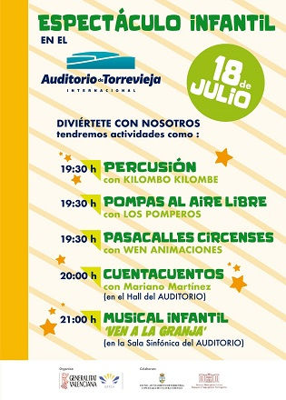 El Auditorio de Torrevieja reanuda su programación este sábado con un espectáculo infantil