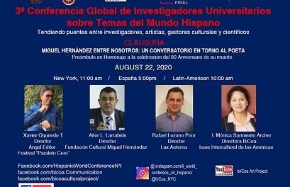 Aitor l. Larrabide clausura la tercera conferència global d'investigadors universitaris sobre temes del món hispànic organitzada des de Nova York