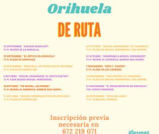 """Cultura presenta una nova programació de """"Dissabtes de Ruta"""" per a redescobrir Oriola"""