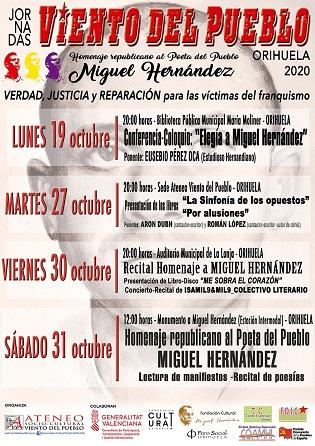 Eusebio Pérez Oca oferirà aquest pròxim dilluns una conferència sobre Miguel Hernández a la Biblioteca Pública Municipal María Moliner d'Oriola