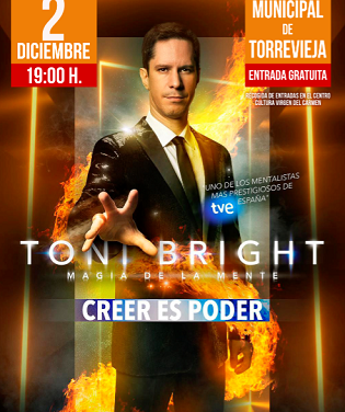 El prestigioso mentalista Toni Bright actúa el 2 de diciembre en el Teatro Municipal de Torrevieja
