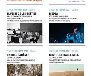 La programació cultural d'arts escèniques de la Universitat d'Alacant serà online per al mes de febrer