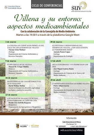 La Seu Universitària i Medi Ambient organitzen el cicle de xarrades 'Villena i el seu entorn: aspectes mediambientals'