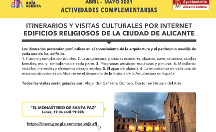 Visitas culturales online a 3 edificios religiosos de Alicante