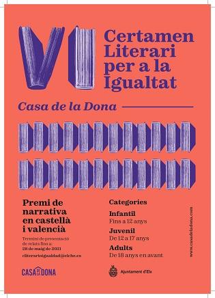 Igualtat d'Elx convoca el VI Certamen Literari 'Casa de la Dóna'