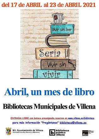 Les Biblioteques Públiques Municipals de Villena arranquen el seu cicle d'activitats en commemoració del Dia del Llibre