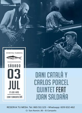 Dani Catalá y Carlos Porcel Quintet con Joan Saldaña en concierto este sábado en El Campello