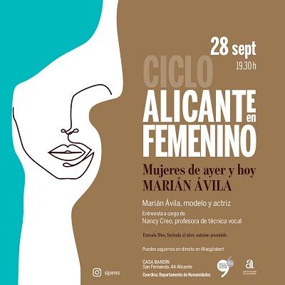 La modelo internacional Marián Ávila protagoniza una nueva sesión del ciclo del IAC Gil-Albert dedicado a la mujer