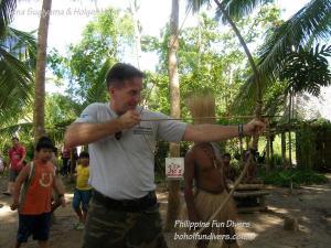 Philippine fun divers alona beach panglao bohol adventure trip loboc river ate tribe holger horn bow and arrow training