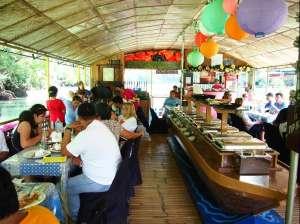 Floating restaurant loboc riverwatch bohol inside the boat2