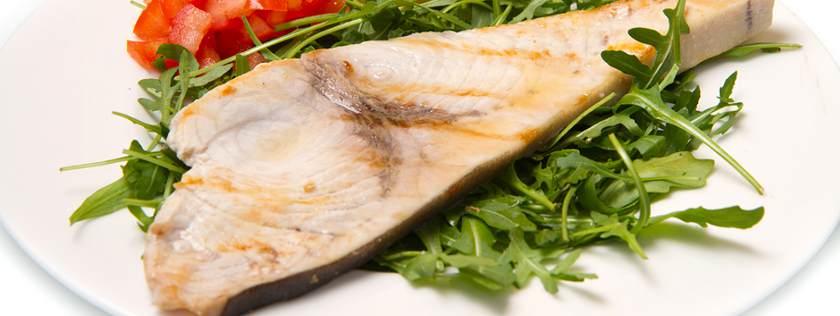 roasted swordfish on plate