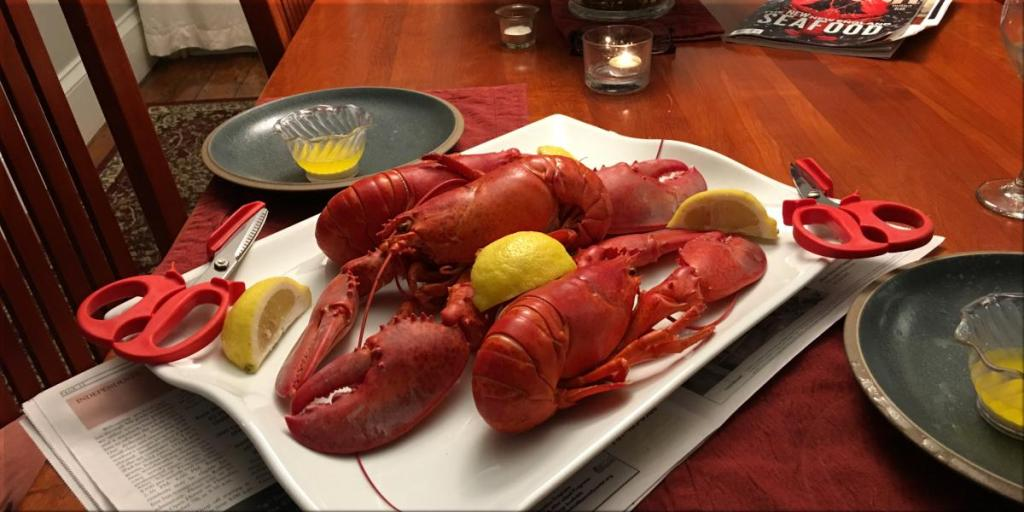 cooked soft shell whole maine lobster