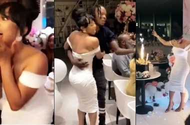 Naira Marley Surprises Toke Makinwa At Her Birthday Party