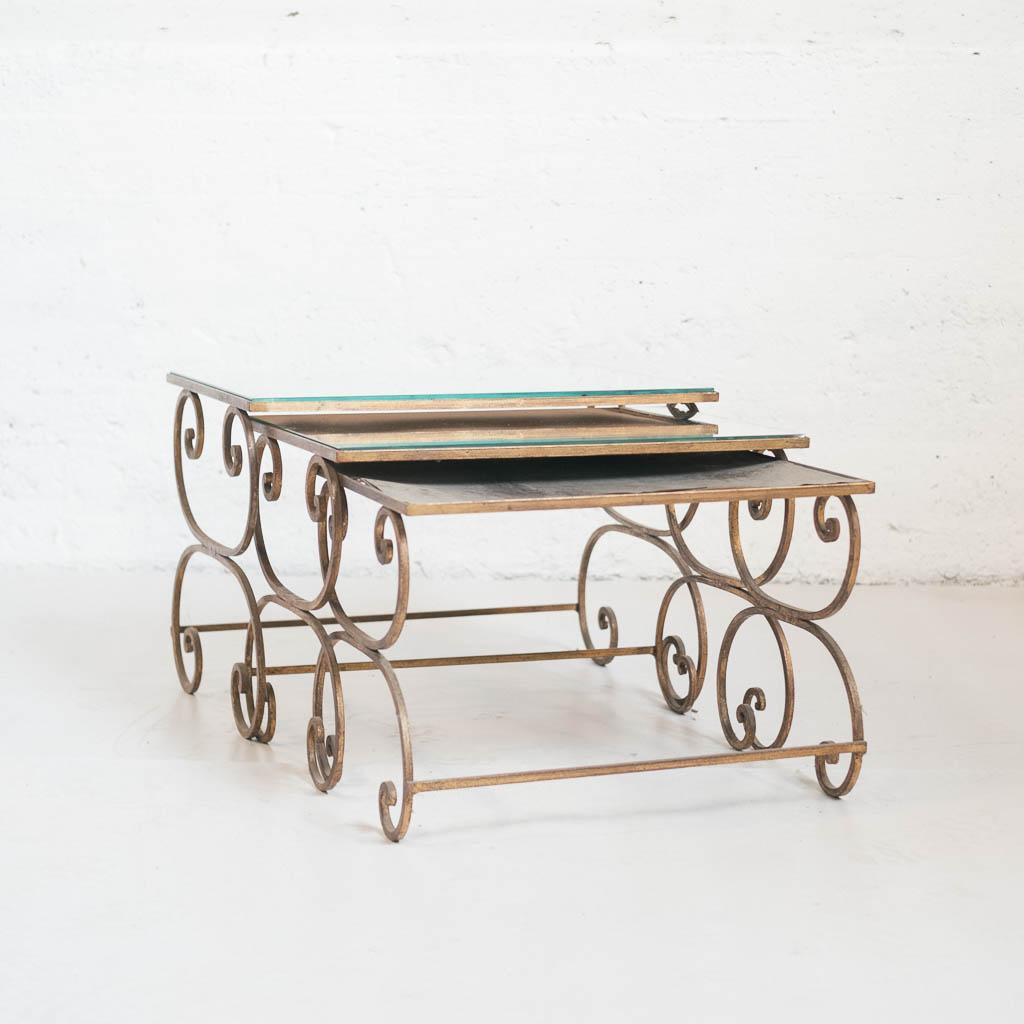 tables gigognes fer forge or miroir