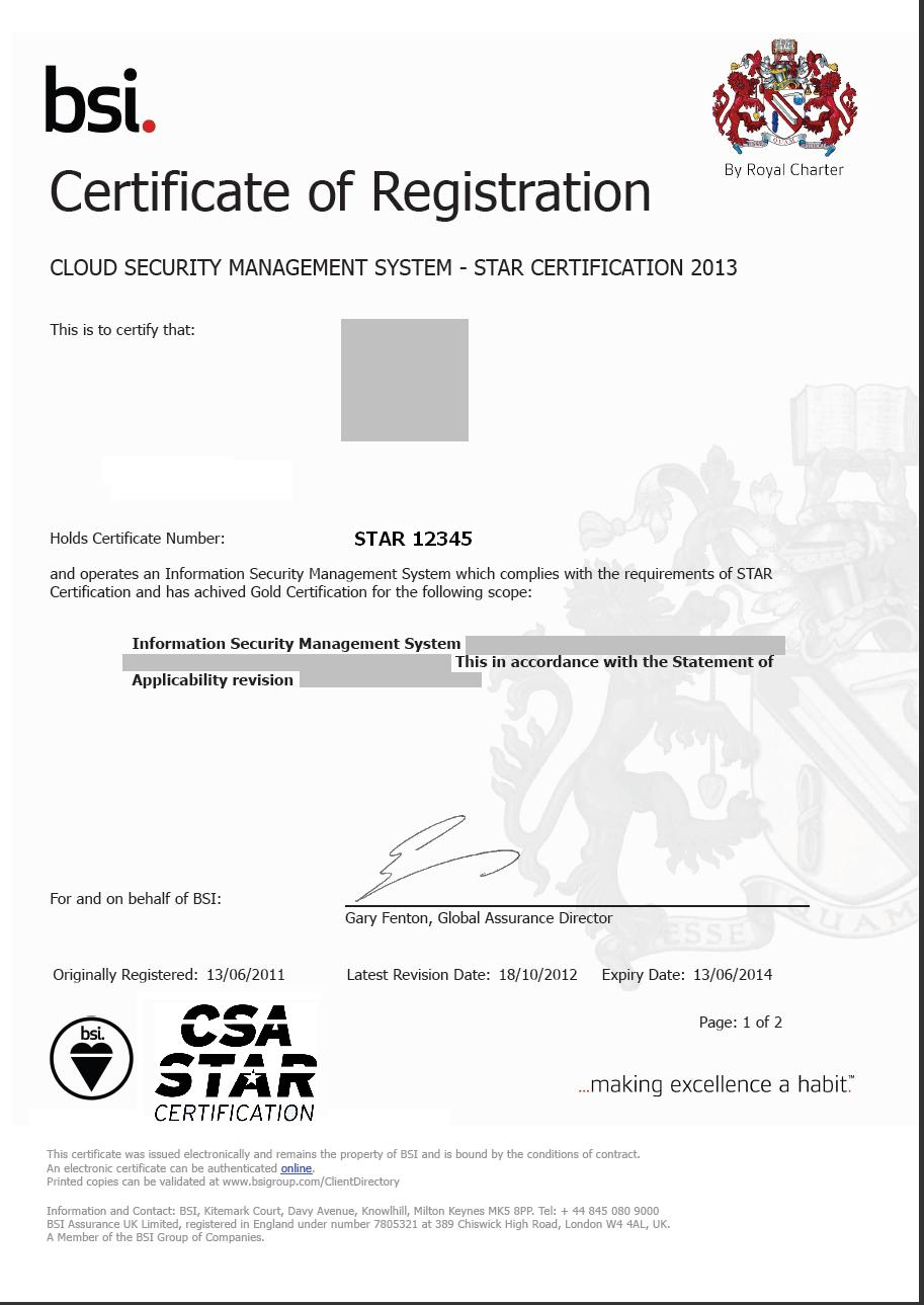STAR Certification Cloud Security Alliance