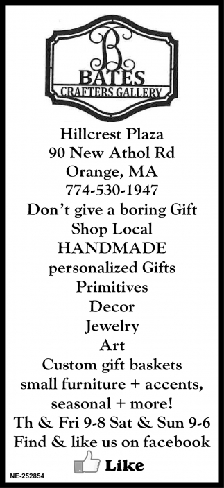 Don't Give A Boring Gift, Bates Crafters Gallery, Orange, MA