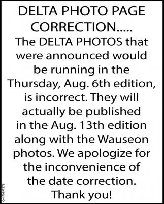 Delta Photo Page Correction, Delta Photos