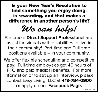 Direct Support Professional, Easy Living LLC, Defiance, OH