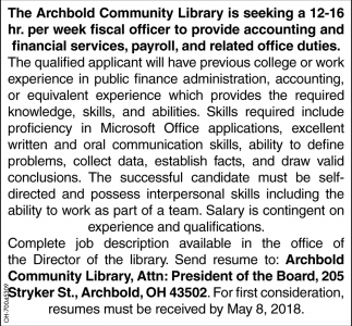 Fiscal Officer, Archbold Community Library