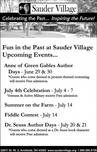 Upcoming Events, Sauder Village, Archbold, OH