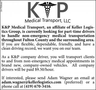 Part-time Drivers, K&P Medical Transport