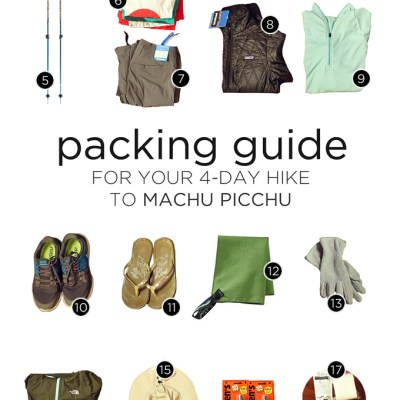 What to pack on your 4 day Inca Trail hike to Machu Picchu.