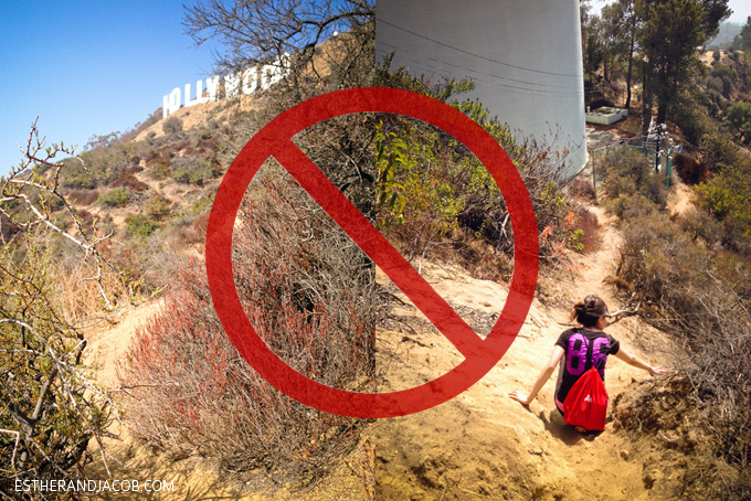 the wrong way to hike to the hollywood sign. hollywood sign hike address. hollywood sign hiking trail. hiking the hollywood sign.