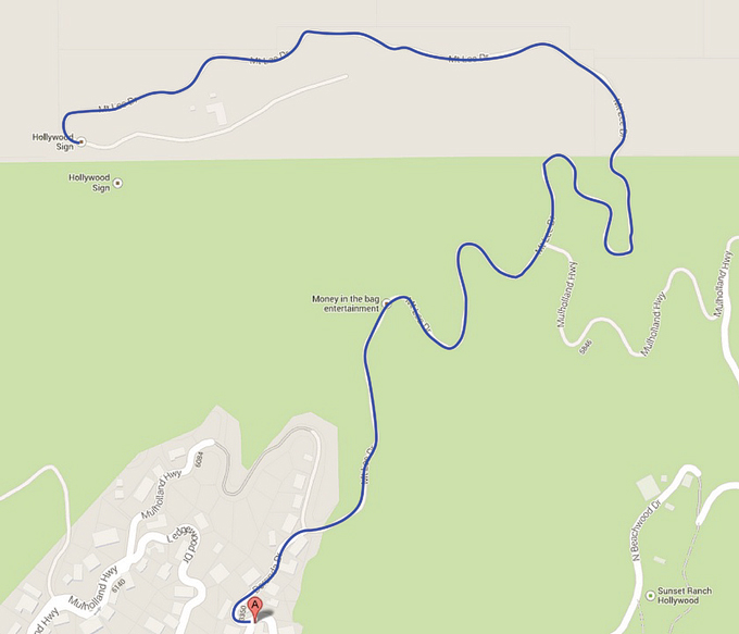 hollywood sign hike map.
